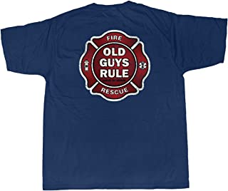 OLD GUYS RULE T Shirt for Men | Fireman - Badge of Honor | Cool, Funny Graphic Tee for Dad, Husband, Grandfather Gift | Navy