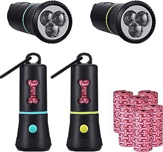 2 Pieces Waste Bags Holder with LED Flashlight Dog Poop Dispenser for Dog Leash and 6 Rolls Leak-Proof Dog Poop Waste Bags...