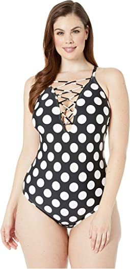 Plus Size Dot Dot Goose Lace-Up Mio