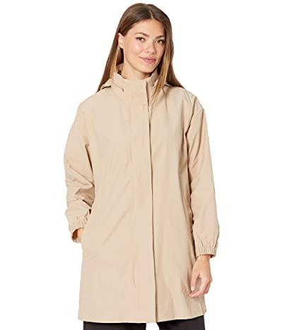 Eileen Fisher Light Cotton Nylon Stand Collar Long Jacket (Khaki) Women