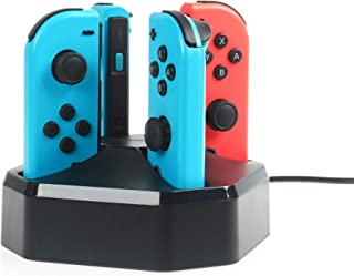 comprar comparacion AmazonBasics - Estación de carga para 4 mandos Joy-Con de Nintendo Switch, cable de 7,92 m, color negro