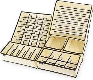 Anstore 6 Stück Aufbewahrungsbox für Unterwäsche, Schubladen-Organizer, für Kleiderschrankschubladen, Divider für Socken, BHS und Krawatten, Faltbox, Stoffbox, Beige