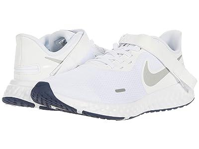 Nike Flyease Revolution 5 (White/Metallic Silver/Midnight Navy) Men