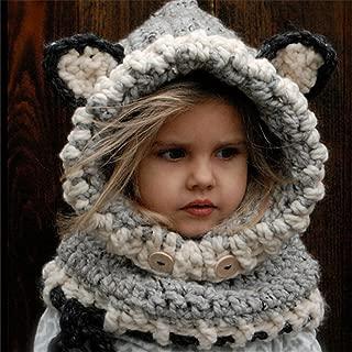 Baby Girls Boys Winter Hat Scarf Earflap Hood Scarves Caps (Grey 1(2-8 years old))