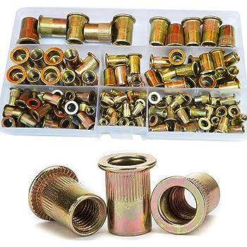 Rivet Nut Mixed Metric Rivnut Threaded Flat Head Insert Rivetnut Standard Blind Nutsert Zinc Plated Carbon Steel 1//2 3//8 5//16 1//4 10//24 8//32