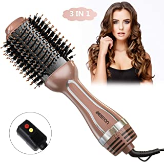 Beston Hair Dryer Brush, Hot Air Brush,One-Step Hair Dryer & Volumizer 3-in-1 Negative Ionic Hot Comb For Volume and Soft Curls Hair Brush (Champagne)