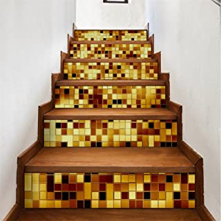zhiyu&art decor 3D Stair Decals Stickers Stair Risers Decals Staircase Stickers Tile Murals Removable Peel and Stick Stair Wall Stickers for Stairs 6PCS/Set