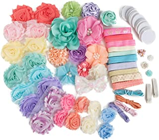 Spring Chic : Pastel Flower Headband Kit Makes 28+ Hair Accessories : Shabby Chiffon Craft Roses Elastics for Parties & Baby Showers: Easter Lavender Pink Aqua