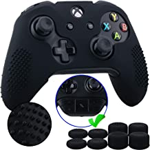 9CDeer 1 Piece of Studded Protective Silicone Cover Skin Sleeve Case + 8 Thumb Grips Analog Caps for Xbox One/S/X Controller Black compatible with Official Stereo Headset Adapter