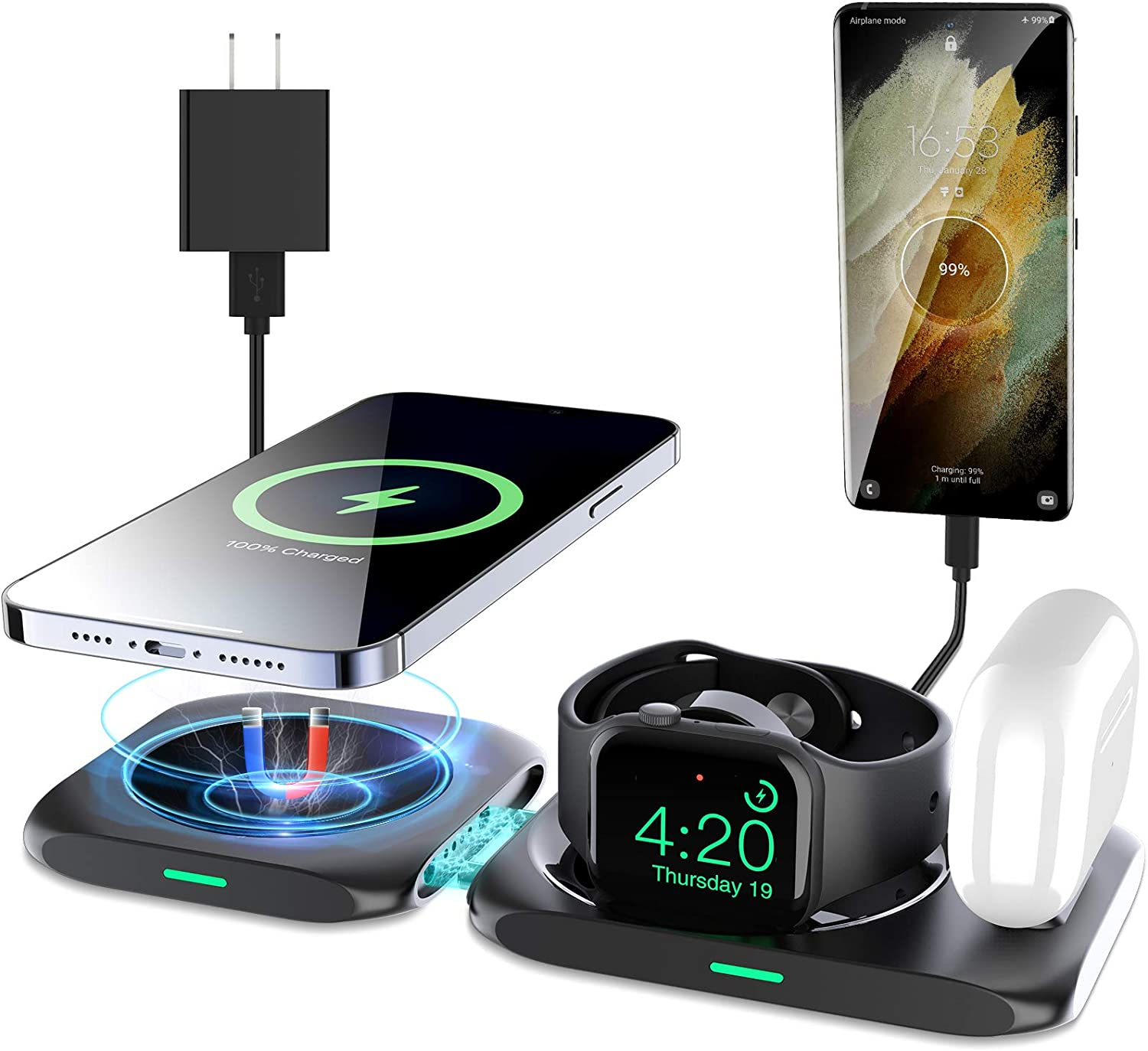KKM 4 in 1 Louisville-Jefferson Max 44% OFF County Mall Wireless Charging Ch Magsafe Station Compatible with
