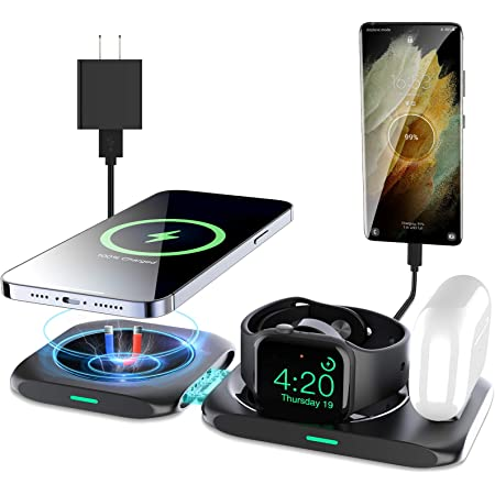 KKM 4 in 1 Wireless Charging Station, Compatible with Magsafe Charger, 15W Fast Charging Pad for iPhone 13/13 Pro/13 Pro Max/12 Mini/iWatch, Airpods Pro/Samsung S20 FE/S21 (QC 3.0 Adapter Included)