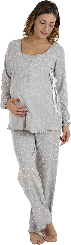 Premamy - Pijama para Maternidad, Estilo Anudado, algodón elástico de Dos vías, pre-Post-Parto