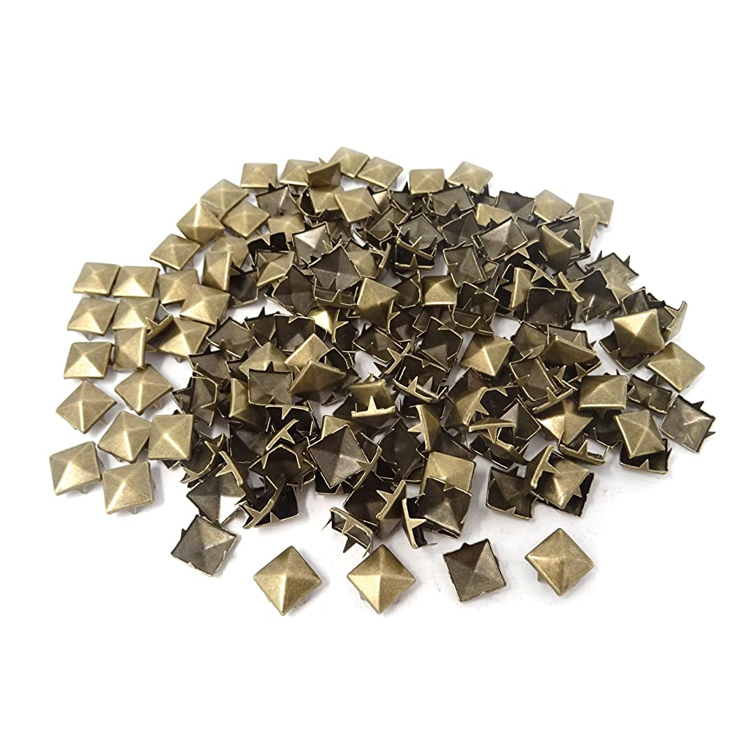 Honbay 200PCS 10mm Antique Brass Nailheads DIY Metal Punk Spikes Spots Square Pyramid Studs for Leathercraft