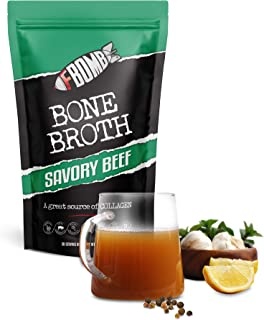 FBOMB Beef Bone Broth Protein Powder - 30 Servings: Keto & Paleo Friendly Soup, Fortified with Electrolytes & Collagen | G...
