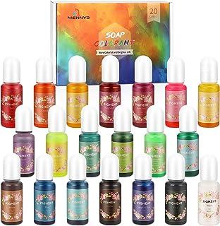 Colorant Résine Époxy, Pigment Bougie 20 couleurs (10 ml, total 200 ml) - Kit Colorant Savon Liquide pour Fabrication Savo...