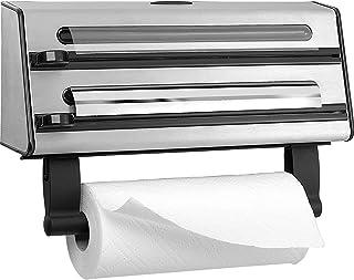 EMSA Contura Dérouleur triple, Inox, Dévidoir aluminium, film alimentaire, papier absorbant 3en1 504180