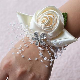 Ivory Corsage for Wedding Prom Flower Wedding Bridal Wrist Corsage Bridesmaid Wrist Flower Corsage Flowers for Wedding (Ivory)