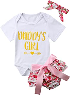 gllive Baby Girls Daddy's Girl Floral Print Romper Bodysuit Pants Headband 3PCS Outfits Clothes Set for Father¡¯s Day
