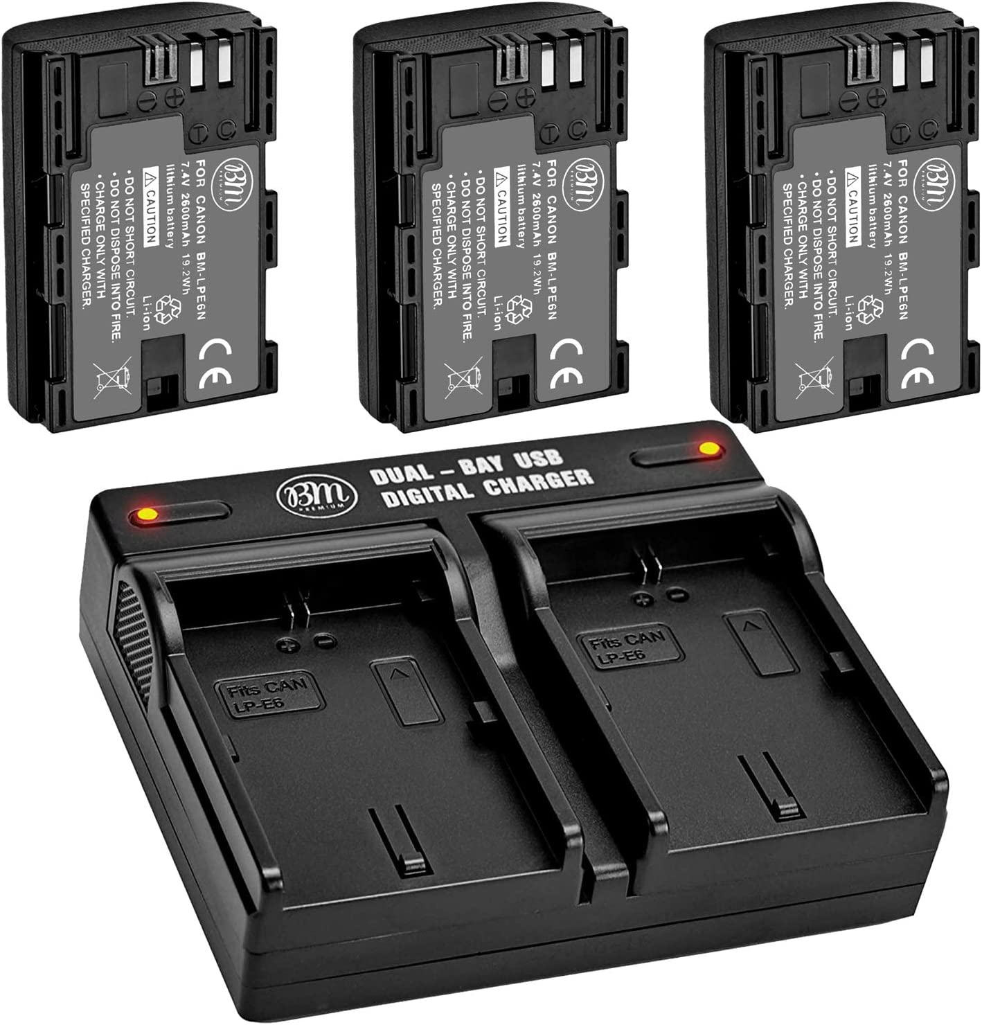BM Premium 3 Pack of LP-E6N Bay Dual High Capacity Ranking TOP17 and Batteries Same day shipping