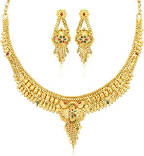 Sukkhi Shimmering 24 Carat Gold Plated Wedding Jewellery Choker Necklace Set for Women (N73730)