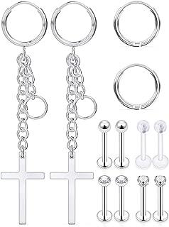 316L Surgical Stainless Steel Huggie Hoop Earrings 12mm Hypoallergenic Earrings Hoop Cartilage Helix Lobes Hinged Sleeper Earrings for Men Women