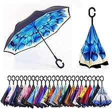 PLeon 逆転傘 逆さ傘 逆折り式傘 反転傘 自立傘 手離れC型手元 ダブルキャノピー傘 耐風 晴雨兼用 ビジネス用 車用, キャリングバッグ付き旅行傘