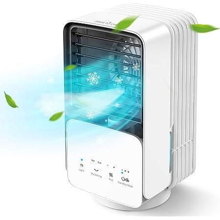 AYOGG Climatiseur Portable, 700ml Refroidisseur d'air, 4 en 1, Humidificateur, Purificateur d'air, Ventilateur Silencieux, 60/120°Oscilación, Lumière LED, 3 Vitesses, Pour Maison, Bureau