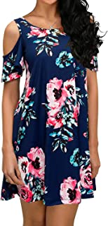 QIXING Women's Summer Cold Shoulder Tunic Top Swing...