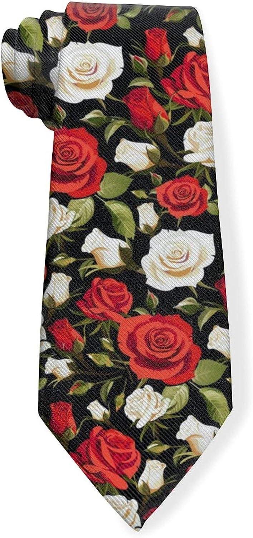 Pink And White Rose Pattern Mens Classic Color Slim Tie, Men's Neckties, Fashion Boys Cravats