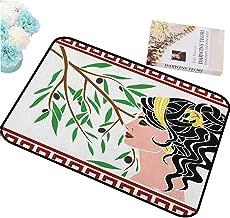 HCCJLCKS Interior Door mat Toga Party Mythological Aphrodite Profile and Olive Branch Greek Borders Framework Print Unique Design W16 xL24