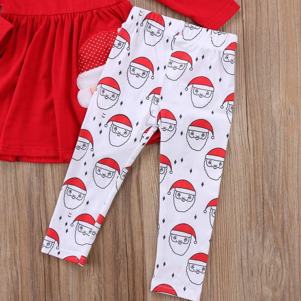 Verve Jelly Baby M/ädchen Weihnachten Outfits Kleinkind Kinder Weihnachten Schneemann Langarm Tops Schal//Stirnband Weihnachten Outfits Sets Bedruckte Lange Hosen