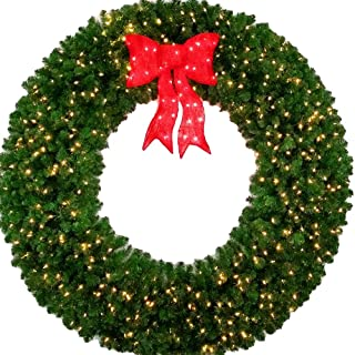 6 Foot L.E.D. Christmas Wreath with Pre-lit Red Bow - 72 inch - 600 LED Lights - Indoor - Outdoor
