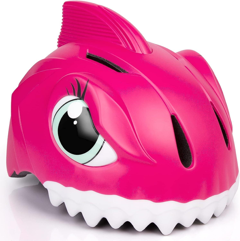Casco de bicicleta infantil 3D Shark Animal para niños, niños y niñas, para bicicleta, scooter, monopatín y bicicleta, con certificado CE (49-55 cm)