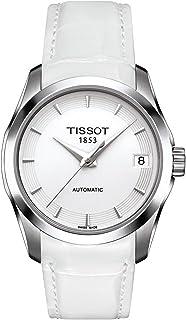 ساعة كوتورير اوتو للنساء من تيسوت بمينا ابيض وسوار جلدي - T035.207.16.011.00