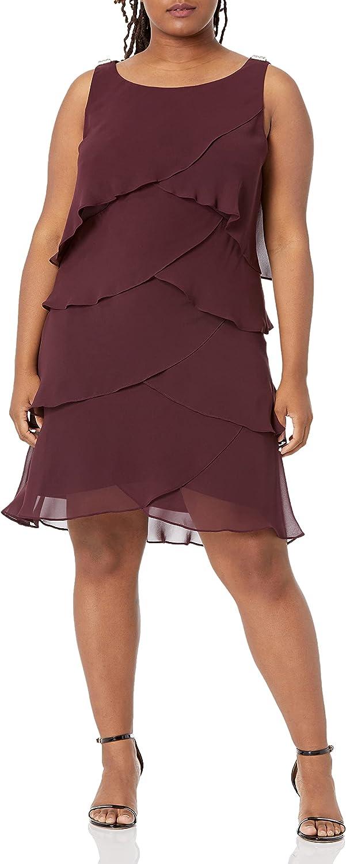 S.L. Fashions Women's Plus-Size Multi-Tier Dress