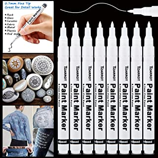 White Paint Pen, 8 Pack 0.7mm White Acrylic Paint Pens Quick-drying Permanent Marker for Rock Plastic Leather Fabric Wood Glass Metal Stone Ceramic Canvas Marker Extra Fine Point Opaque Ink