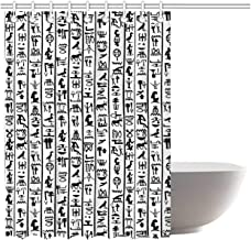 ALUONI Egyptian Colorful Shower Curtain,Vertical Borders with Hieroglyphics Alphabet Ancient Language Symbols Cultural for Power Room,66''W x 72''H