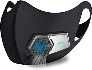 Personal Smart Electric Air Face Mask,Reusable Wearable Air Purifiers Mask,With Fan for Air Supply, Used for Cycling,Runni...