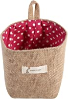 Hanging Storage Bag, Cotton Linen Hamper Collapsible Convenient Storage Home Gadget Storage Organizer Foldable Basket Decor Bin(Red Dots)
