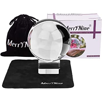 "MerryNine K9 Crystal Ball, Photograph Crystal Ball with Stand and Pouch, K9 Crystal Suncatchers Ball with Microfiber Pouch, Decorative and Photography Accessory (80mm/3.15"" Set, K9 Clear)"