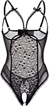 Open Cup Lingerie Crotchless One-Piece Teddy, Black, XXL