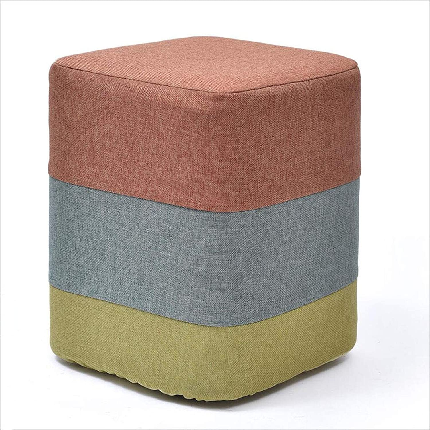 Solid Wood shoes Bench Fashion Creative Sofa Bench Small Bench Household Low Stool Stool Fabric Stool [Square and Round Models Optional, 35CM],squareorange
