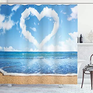 Ambesonne Valentines Day Shower Curtain, Clouds in Clear Blue Sky Forming a Heart Shape Romantic Beach, Cloth Fabric Bathroom Decor Set with Hooks, 70