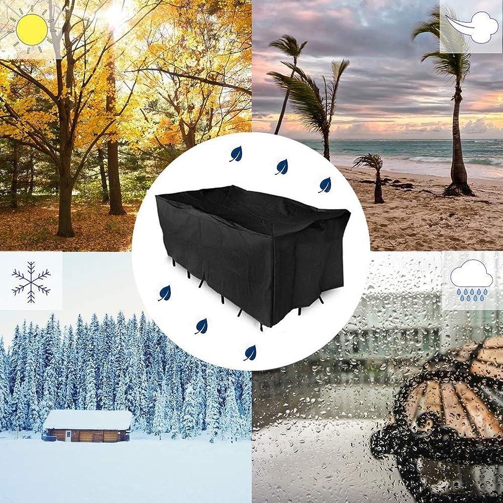 開業医花刈るWAHOUM ガーデン家具カバー黒い長方形の頑丈な防水紫外線抵抗力がある屋外の庭のテーブルカバー 、12サイズ (Color : Black, Size : 127x127x67cm)