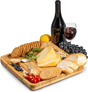 Premium Bamboo Cheese Board and Cutlery Set, 4 Stainless Steel Serving Utensils Charcuterie Platter and Serving Meat Tray