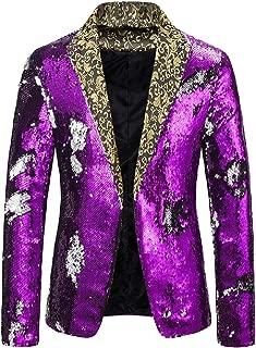 Howely Mens Premium Slim Fitted Lapel Sequin Glitter Nightclub Blazer Coat Tops