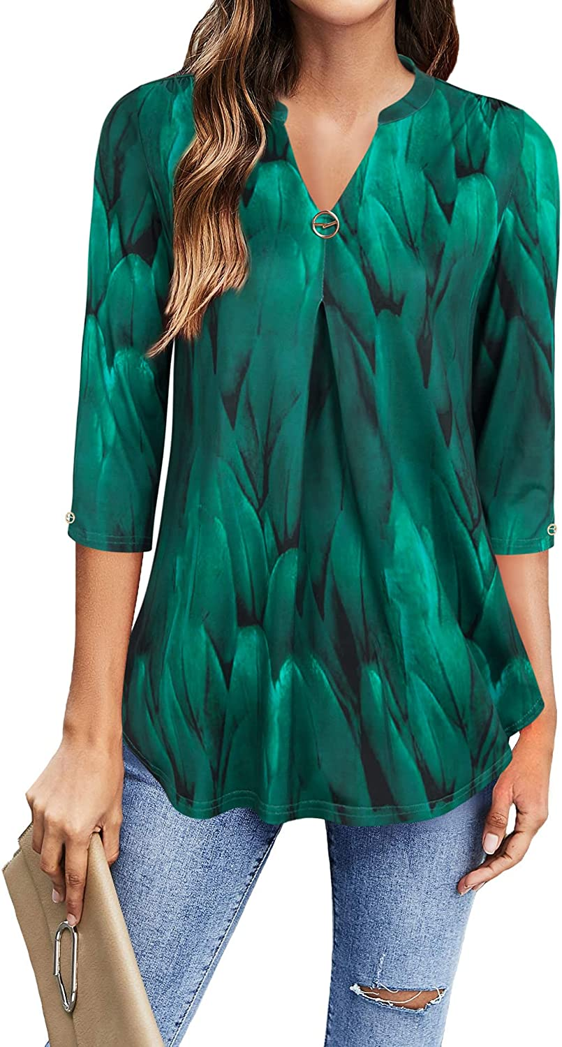 VALOLIA Women's Summer V 35% OFF Neck Super sale period limited Blouse 4 Sleeve Workwear 3 Casual