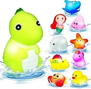 Light Up Bath Toys,10 Pcs Bathtub Water Toys,Floating Flashing Color Changing Light Sensory Toys,Rubber Duck Dinosaur Shar...