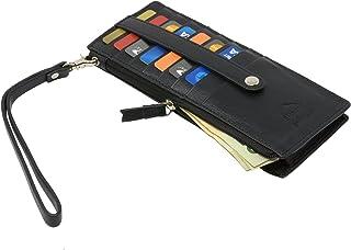 Alpine Swiss Womens Leather Wristlet Wallet Card Case Organizer Zipper Clutch
