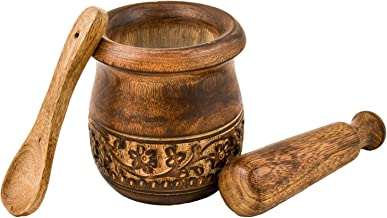 Frescorr - Wooden Engraved Mortar and Pestle Grinder for Herbs, Spices and Kitchen Usage, Natural Mango Wood Engraved | Handmade Mortar and Pestle - 3.5 in (Mango Wood)